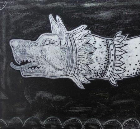 pictură pe pânză lupul dacic